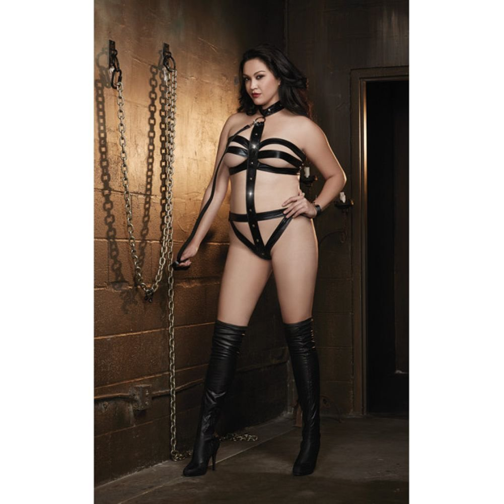Dreamgirl Diamond Fetish Vinyl Microfiber Strappy Collared Teddy with Leash Queen Size Black - View #3