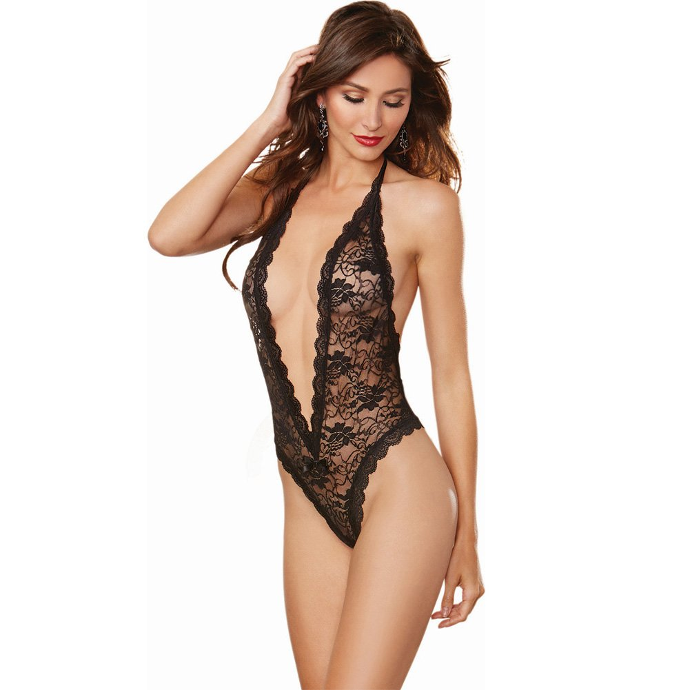 Dreamgirl Halter Lace Teddy with Plunging Neckline and Heart Butt Cut-Out One Size Black - View #1