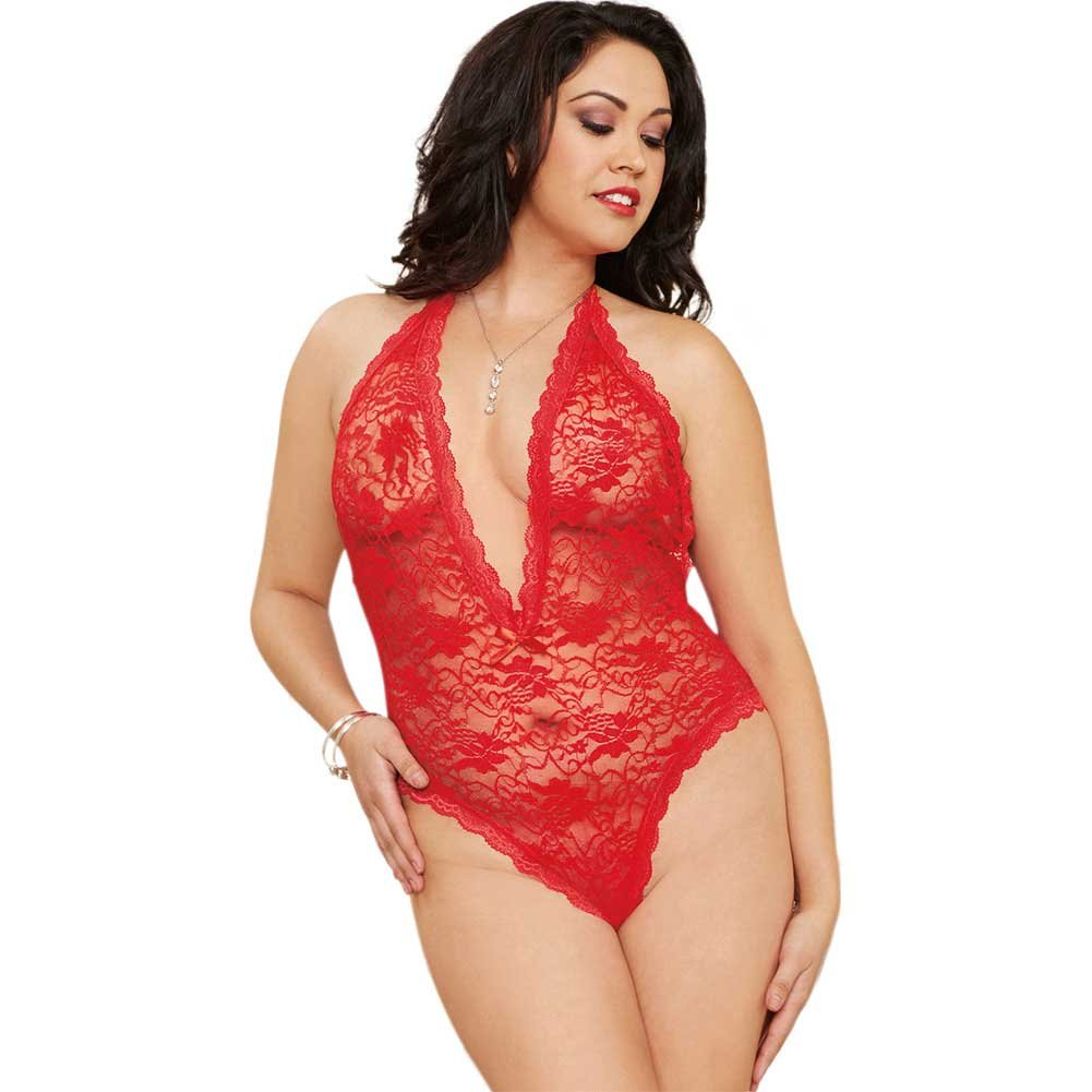 Dreamgirl Lingerie Halter Lace Teddy Plunging Neckline Heart Cut-Out One Size Queen Red - View #1