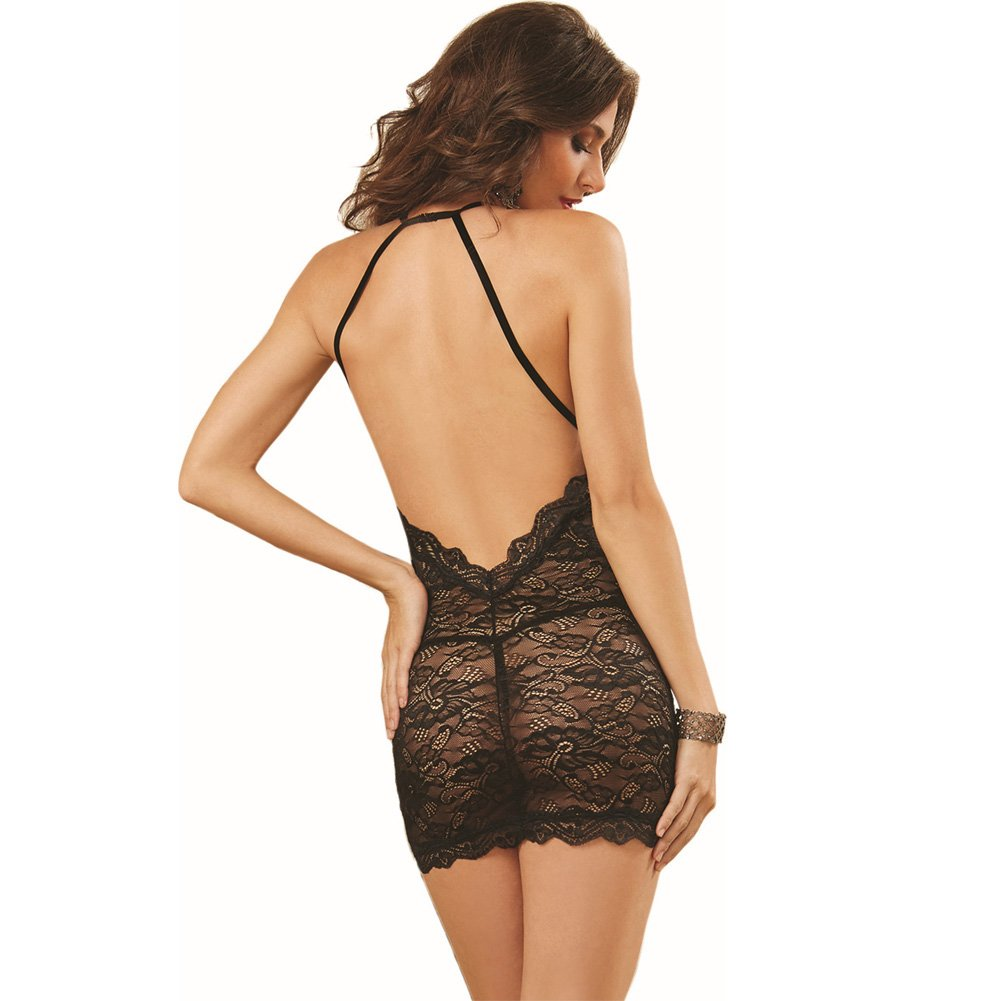 Dreamgirl Lingerie Stretch Lace Chemise with Elastic Criss-Cross Back Straps One Size Black - View #2