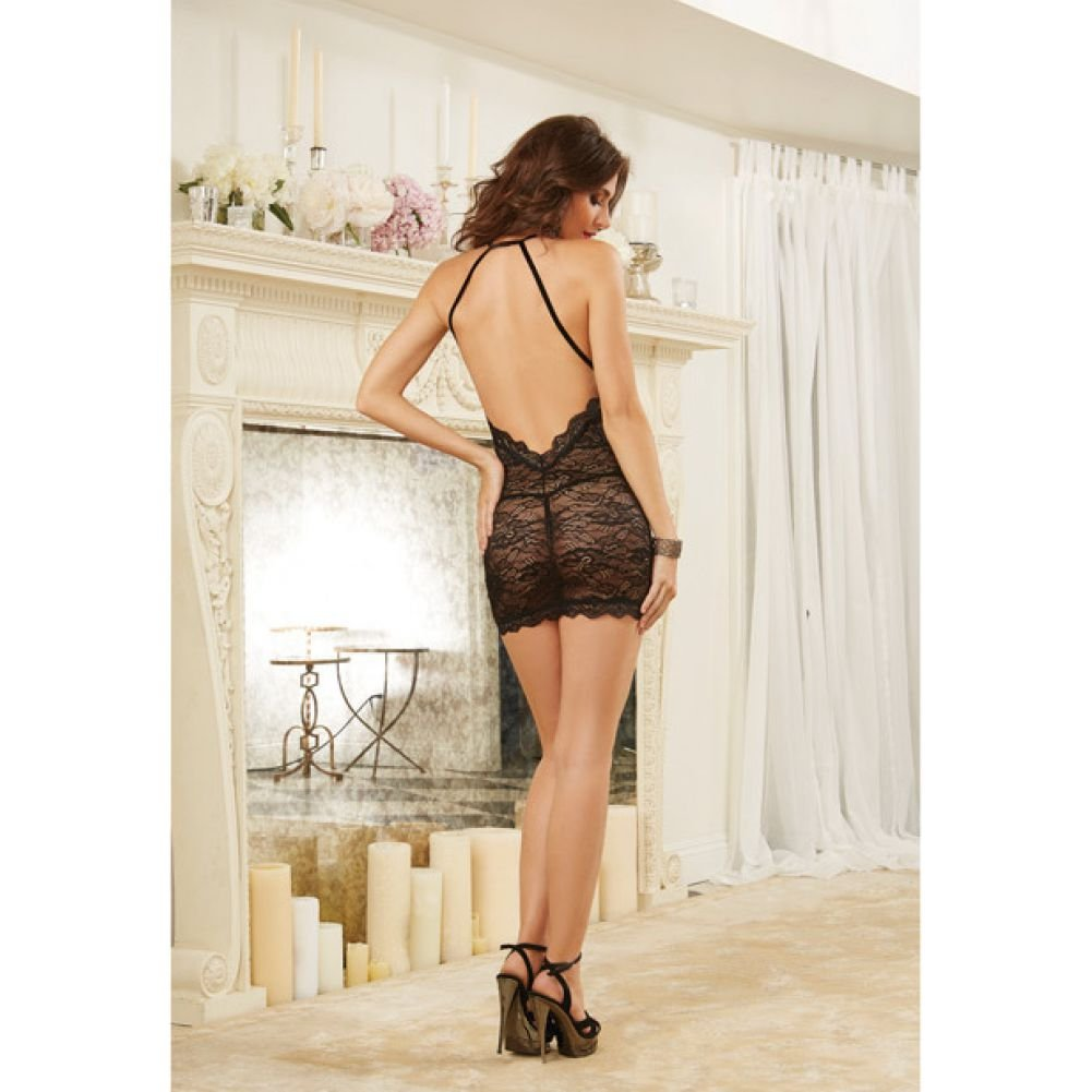 Dreamgirl Lingerie Stretch Lace Chemise with Elastic Criss-Cross Back Straps One Size Black - View #4