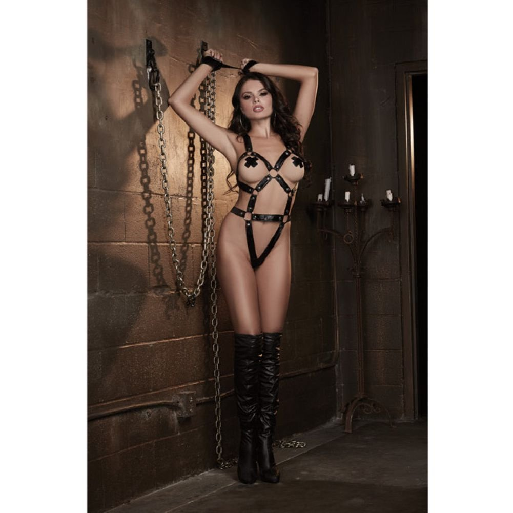 Dreamgirl Lingerie Fetish Faux Leather-Look Strappy Teddy Elastic G-String Back One Size Black - View #3