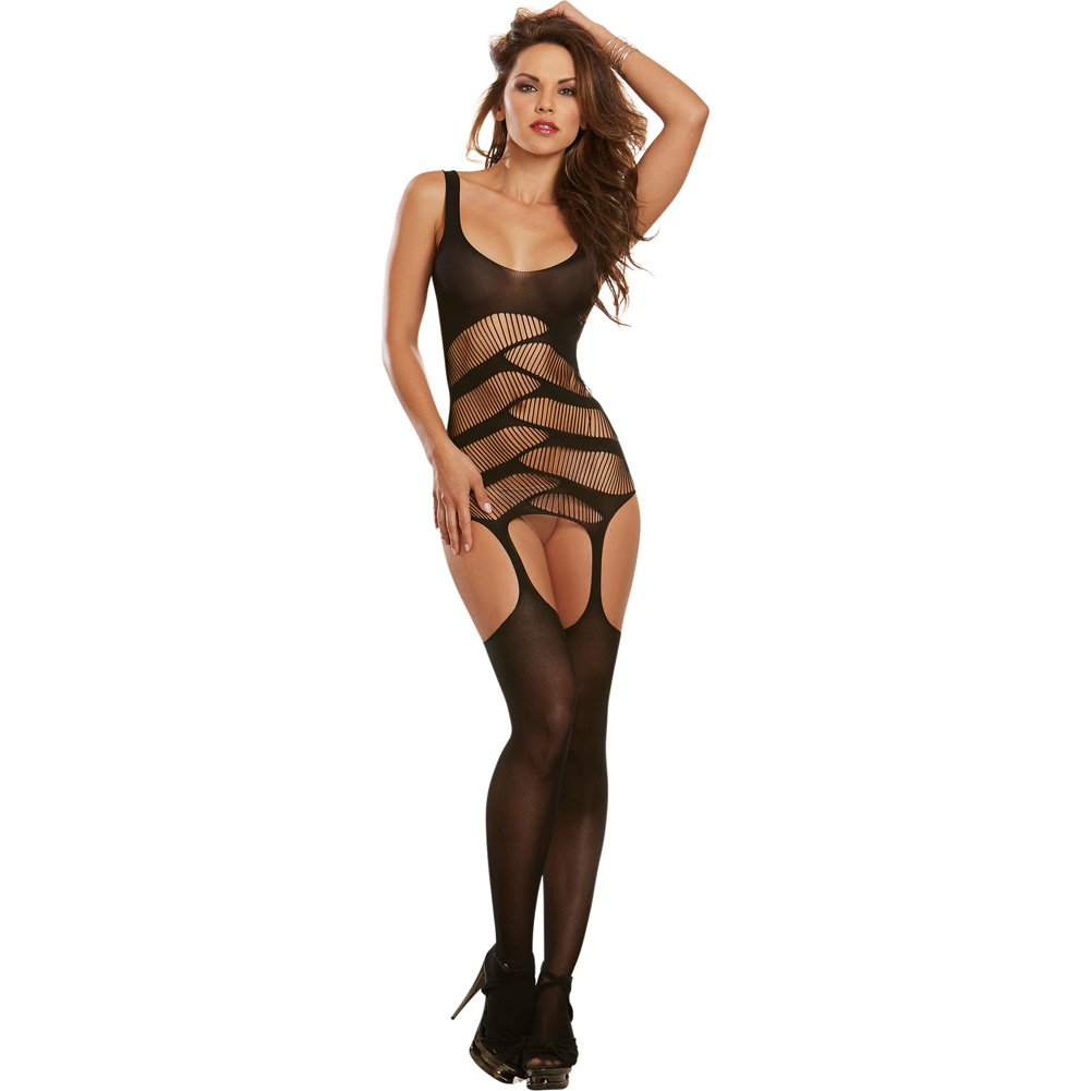 Dreamgirl Lingerie Semi Opaque with Strappy Cut Out Details Garters One Size Black - View #1