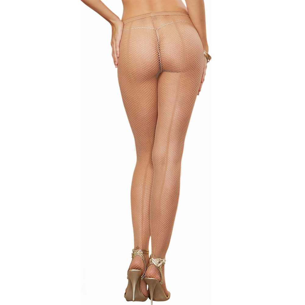 Dreamgirl Lingerie Fishnet Pantyhose with Back Seam One Size Nude - View #1
