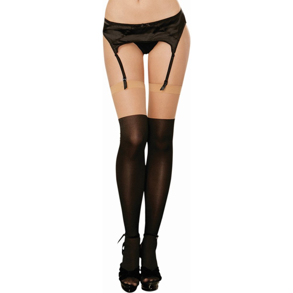 Dreamgirl Versatile Sheer Thigh High with Opaque Knitted Lace Up Boot One Size Nude/Black - View #2