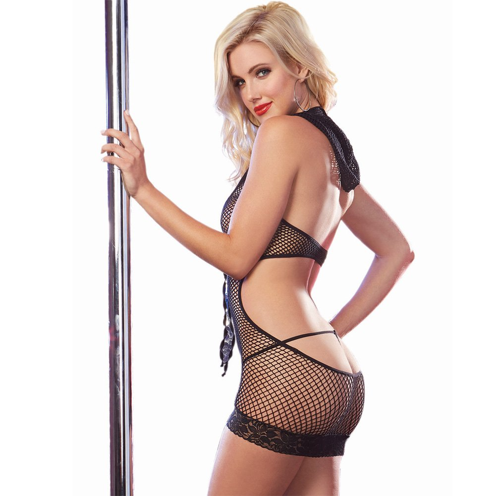 Dreamgirl Lingerie Seamless Fishnet Halter Dress with Attached Hood One Size Black - View #2