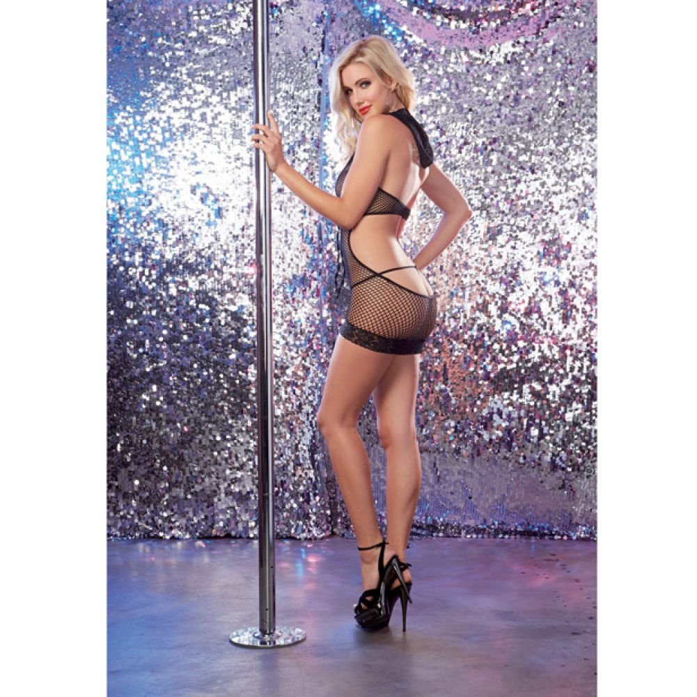 Dreamgirl Lingerie Seamless Fishnet Halter Dress with Attached Hood One Size Black - View #4