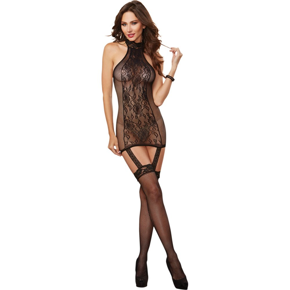 Dreamgirl Lingerie Lace Garter Dress with Fishnet Sides and Thigh Highs One Size Black - View #1