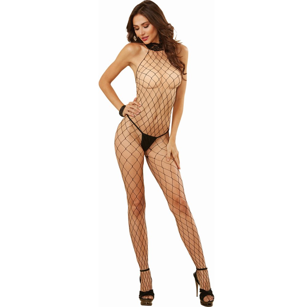 Dreamgirl Lingerie Fence Net Halter Bodystocking with Lace Trim with Open Crotch One Size Black - View #1