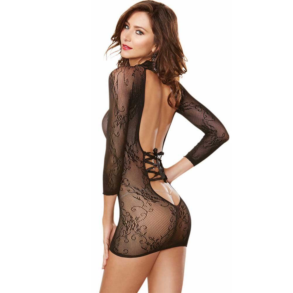 Stretch Lace 3/4 Length Sleeves Snap Closure and Open Back with Adjustable Lace.. - View #1