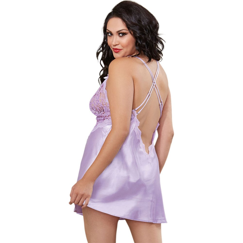 Dreamgirl Satin Charmeuse Chemise and Thong Set with Scalloped Lace Trim 3X/4X Lavender - View #2