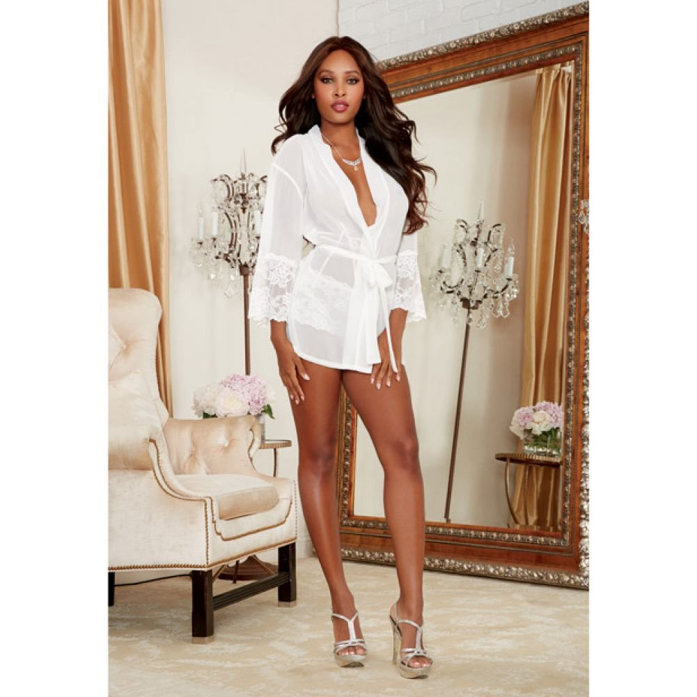 Dreamgirl Chiffon Stretch Lace Short Length Kimono Robe and Cheeky Panty Medium White - View #4