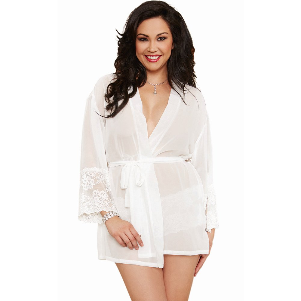 Dreamgirl Chiffon Stretch Lace Short Length Kimono Robe and Cheeky Panty 1X/2X White - View #1