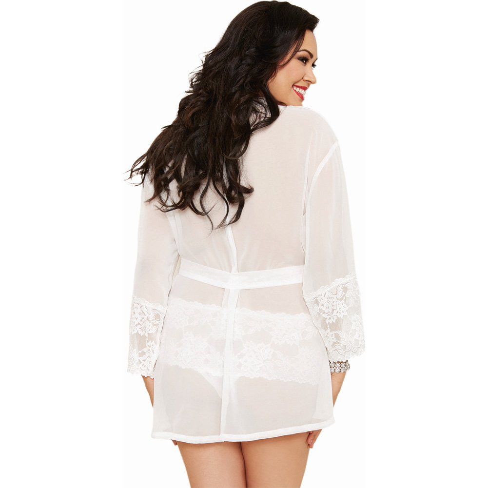 Dreamgirl Chiffon Stretch Lace Short Length Kimono Robe and Cheeky Panty 3X/4X White - View #2