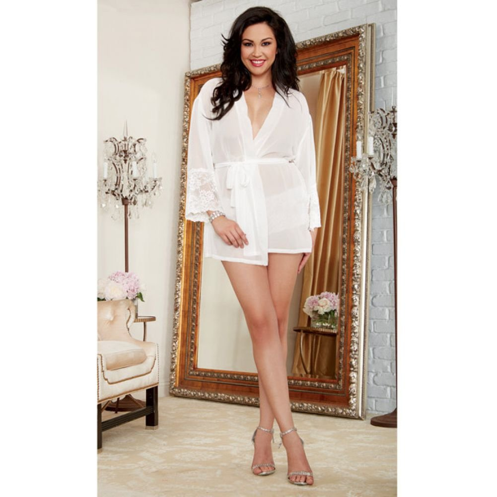 Dreamgirl Chiffon Stretch Lace Short Length Kimono Robe and Cheeky Panty 3X/4X White - View #4