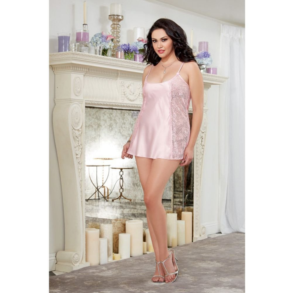 Dreamgirl Lingerie Silky Satin A-Line Chemise with Scalloped Lace Side Panels Vintage 1X/2X Pink - View #3