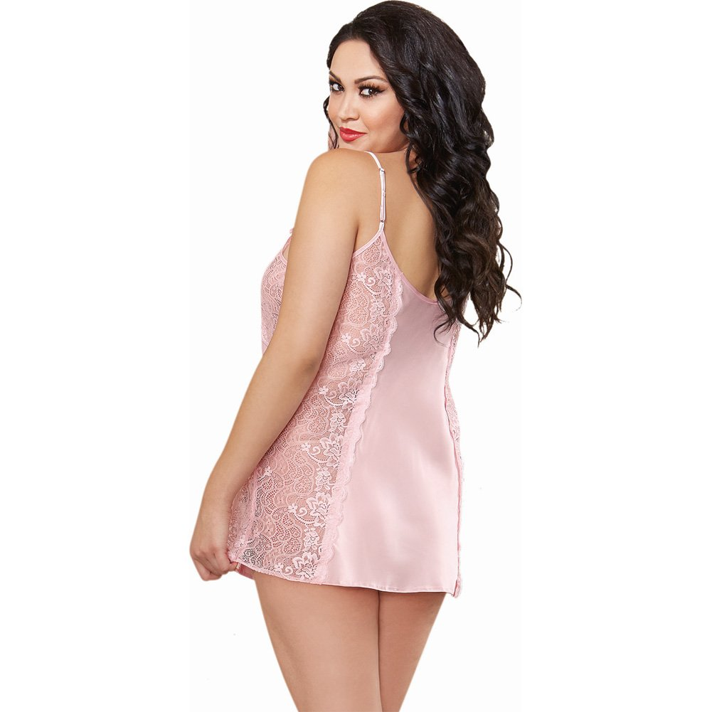 Dreamgirl Lingerie Silky Satin A-Line Chemise with Scalloped Lace Side Panels Vintage 3X/4X Pink - View #2