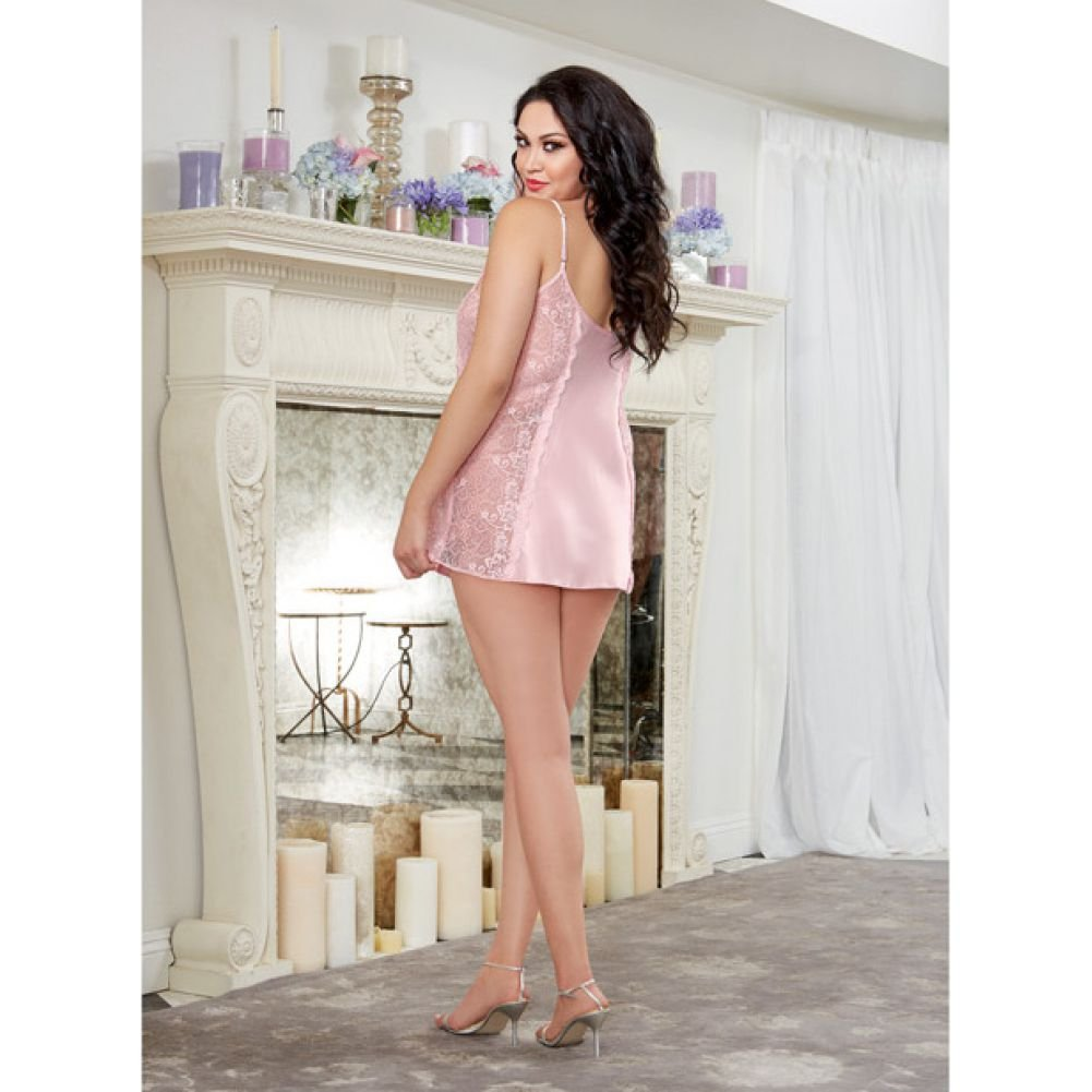 Dreamgirl Lingerie Silky Satin A-Line Chemise with Scalloped Lace Side Panels Vintage 3X/4X Pink - View #4
