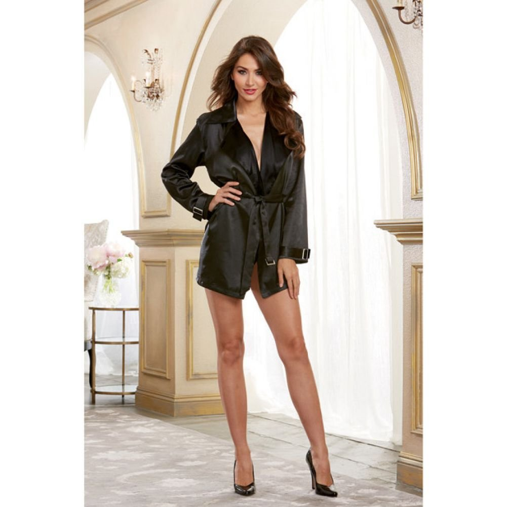 Dreamgirl Lingerie Silky Satin Charmeuse Robe with Trench Coat Styling Attached Belt Large Black - View #4