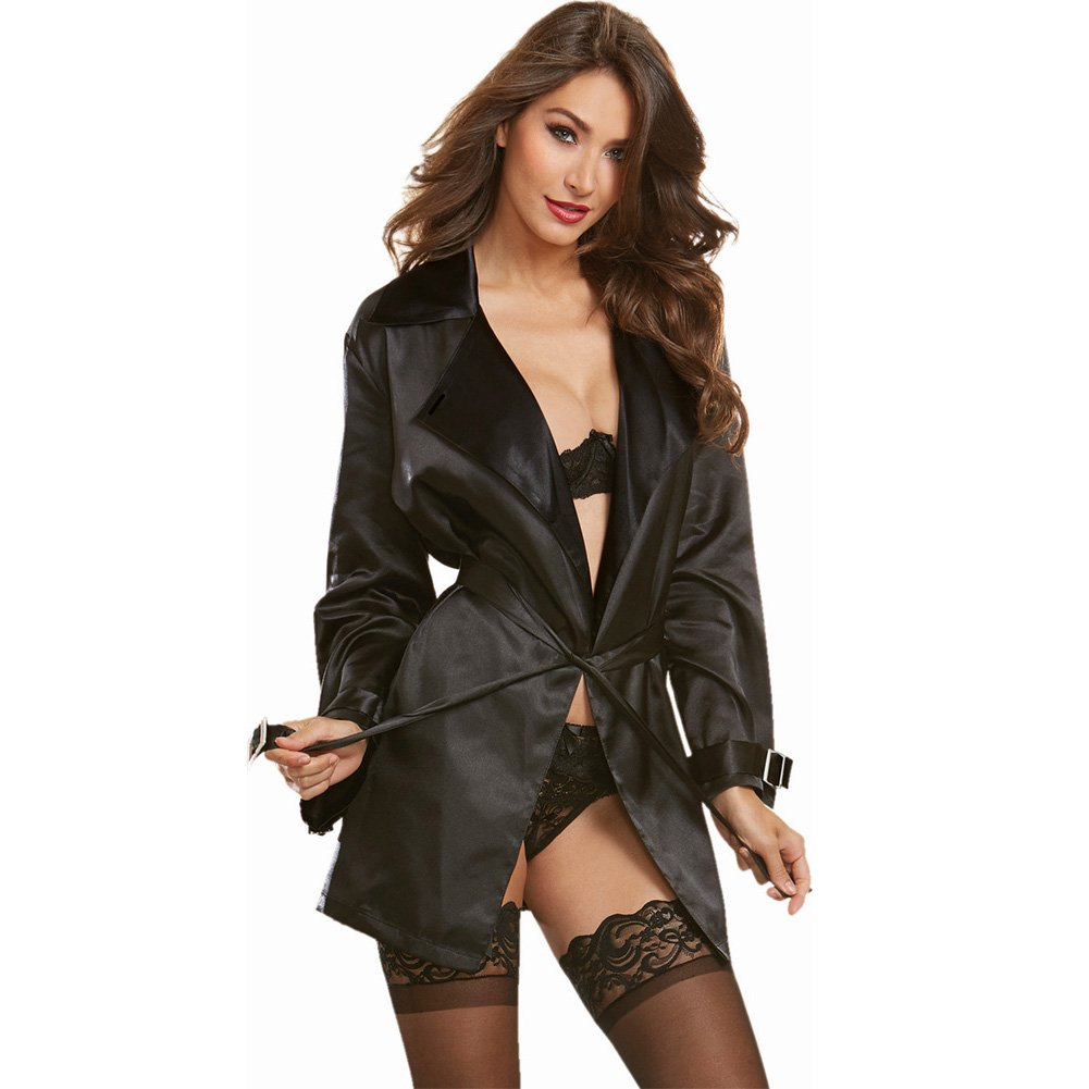Dreamgirl Lingerie Silky Satin Charmeuse Robe with Trench Coat Styling Attached Belt X-LargeBlack - View #3