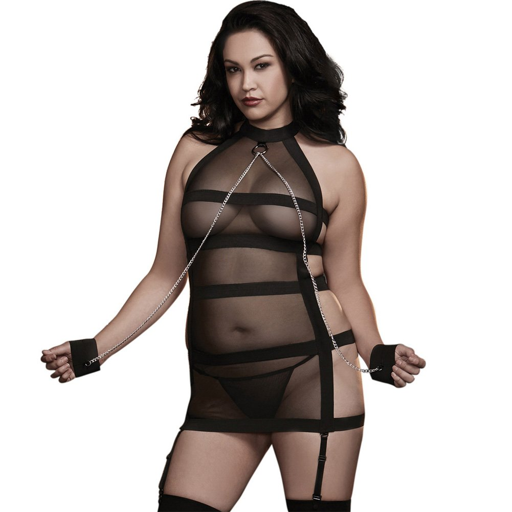 Dreamgirl Lingerie Fetish Mesh Halter Garter Slip with Strappy Back One Size Queen Black - View #1
