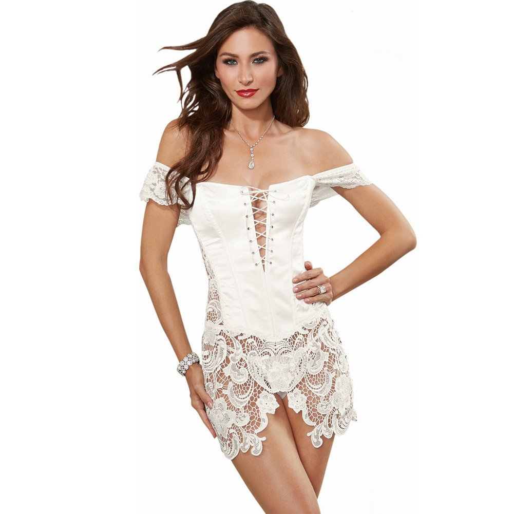 Dreamgirl Venice Fully Boned Lace Corset with Attached Skirt and Thong Size 32 Pearl - View #1