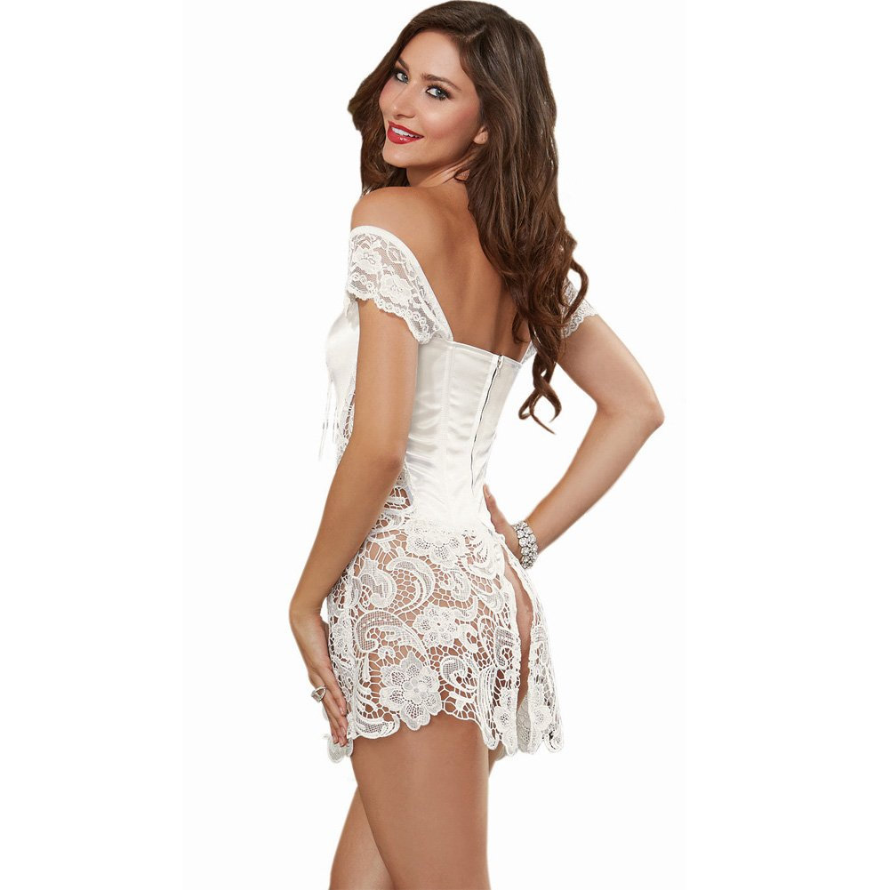 Dreamgirl Lingerie Venice Lace Fully Boned Corset with High-Low Skirt and Thong 42 Pearl - View #2
