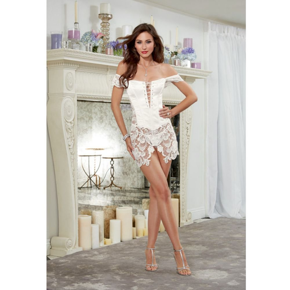 Dreamgirl Lingerie Venice Lace Fully Boned Corset with High-Low Skirt and Thong 42 Pearl - View #4