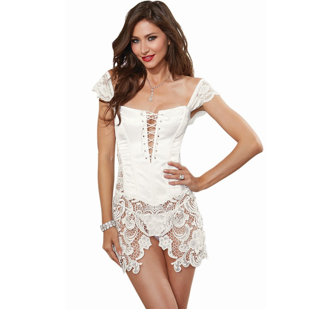 Dreamgirl Lingerie Venice Lace Fully Boned Corset with High-Low Skirt and Thong 44 Pearl - View #3
