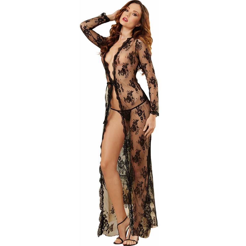Dreamgirl Lingerie Delicate Lace Open Front Gown and G-String Large Black - View #1