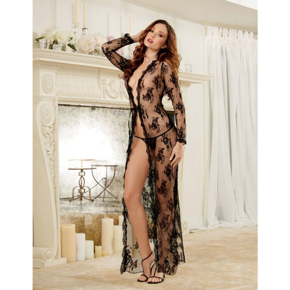 Dreamgirl Lingerie Delicate Lace Open Front Gown and G-String Extra Large Black - View #4