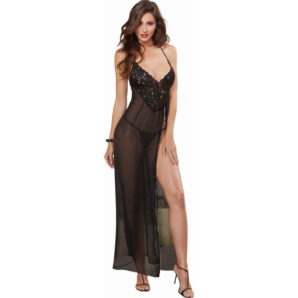 Dreamgirl Lingerie Ciffon and Stretch Lace Gown with Zipper Slit and Ciffon Thong Small Black - View #1