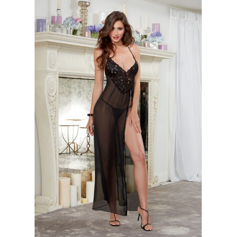 Dreamgirl Lingerie Ciffon and Stretch Lace Gown with Zipper Slit and Ciffon Thong Medium Black - View #3