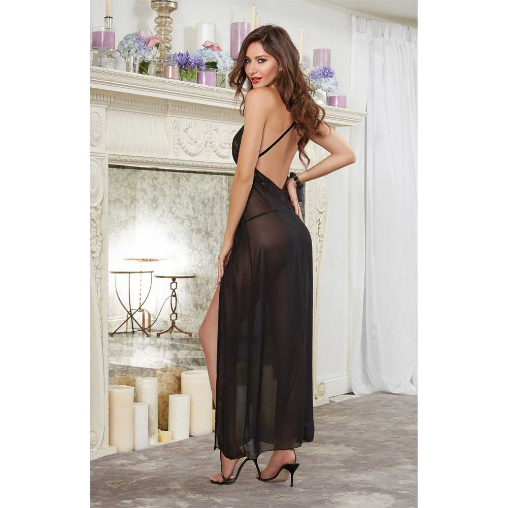 Dreamgirl Lingerie Ciffon and Stretch Lace Gown with Zipper Slit and Ciffon Thong Large Black - View #4