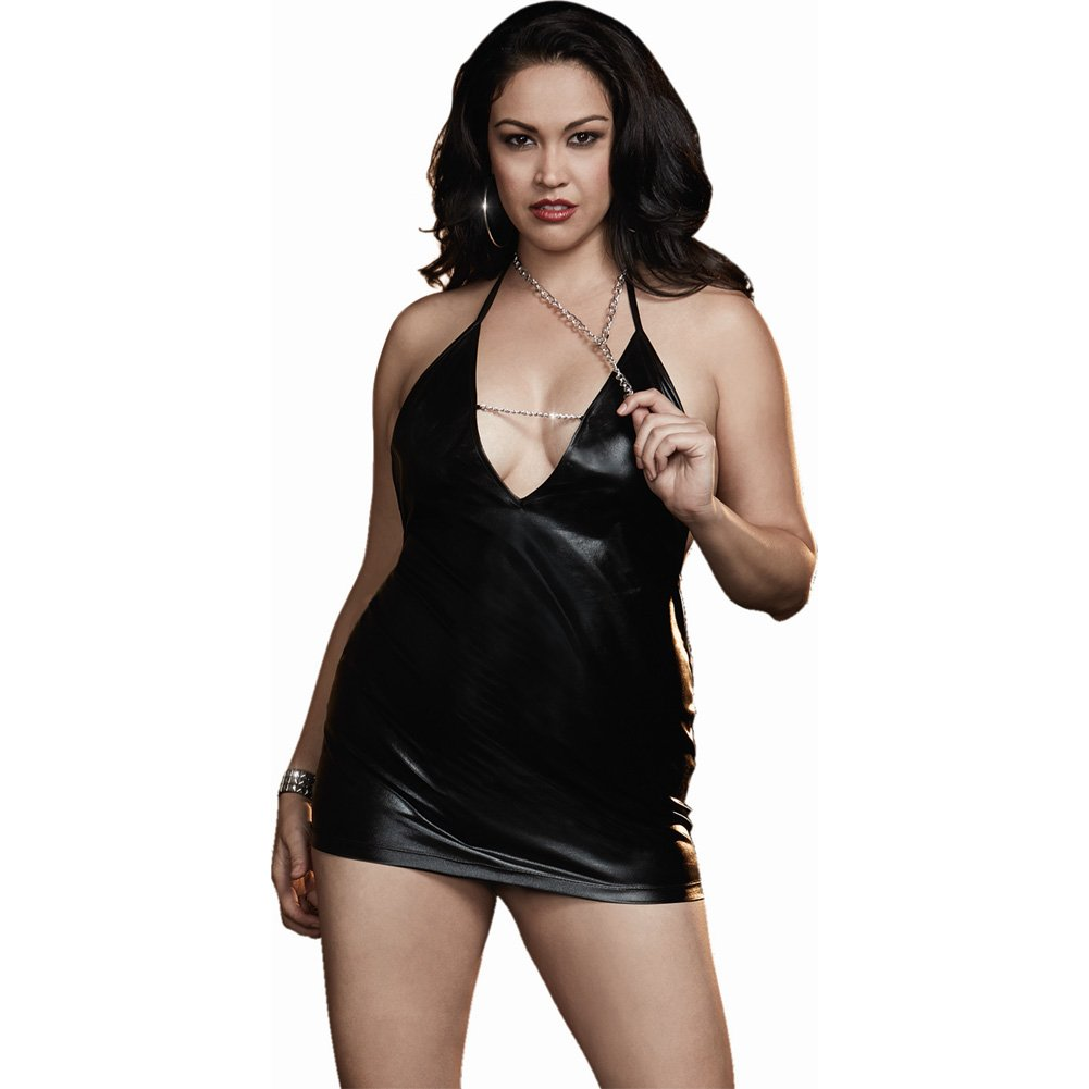 Dreamgirl Lingerie Fetish Faux Leather-Look Stretch Knit Chemise Open Back One Size Queen Black - View #1
