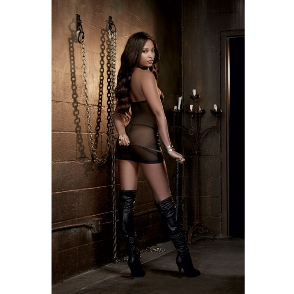 Dreamgirl Lingerie Fetish Faux Leather-Look Stretch Knit Chemise with Mesh Back One Size Black - View #4
