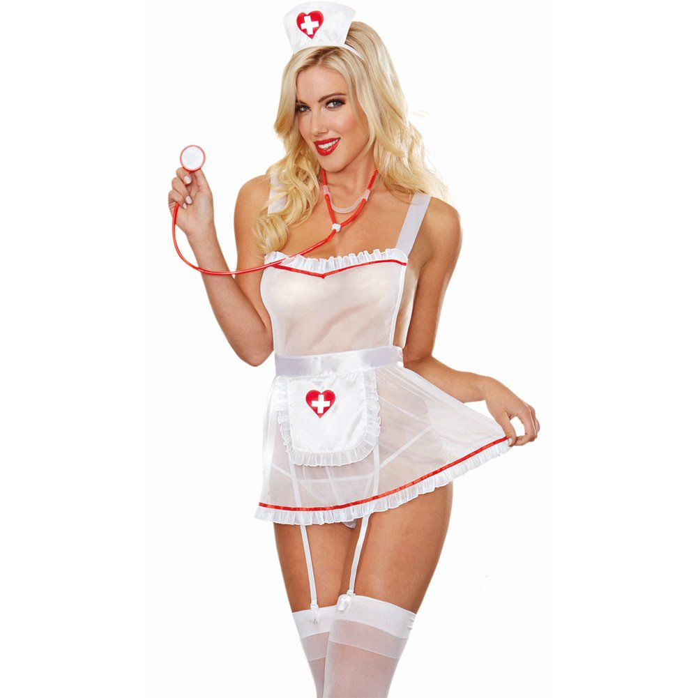 Dreamgirl Lingerie Stretch Mesh Apron Attached Garters Panty Cap Stethoscope One Size White - View #1