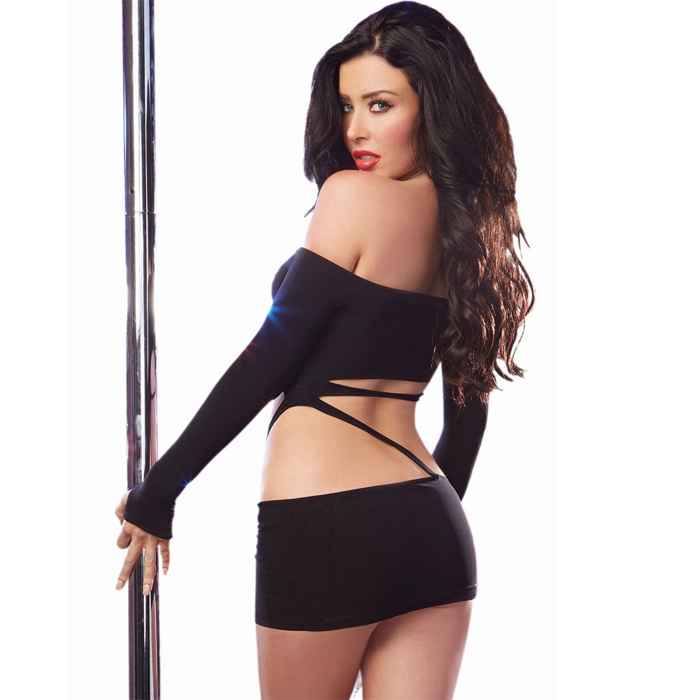 Dreamgirl Lingerie Long Sleeved Seamless Mini Dress with Asymmetrical Slashing One Size Black - View #2