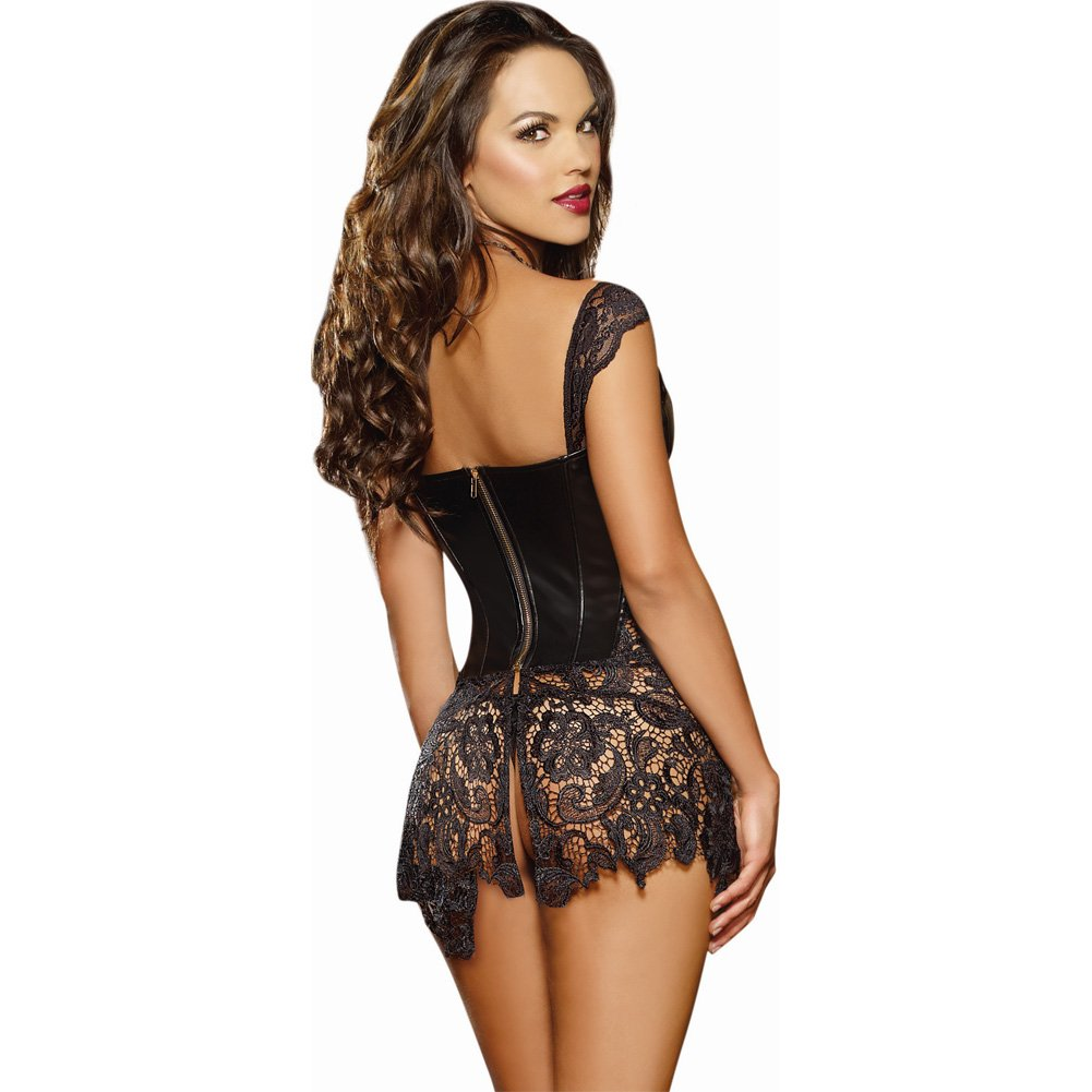 Dreamgirl Lingerie Faux Leather Venice Lace Corset Hi-Low Attached Skirt and Thong 34 Black - View #2