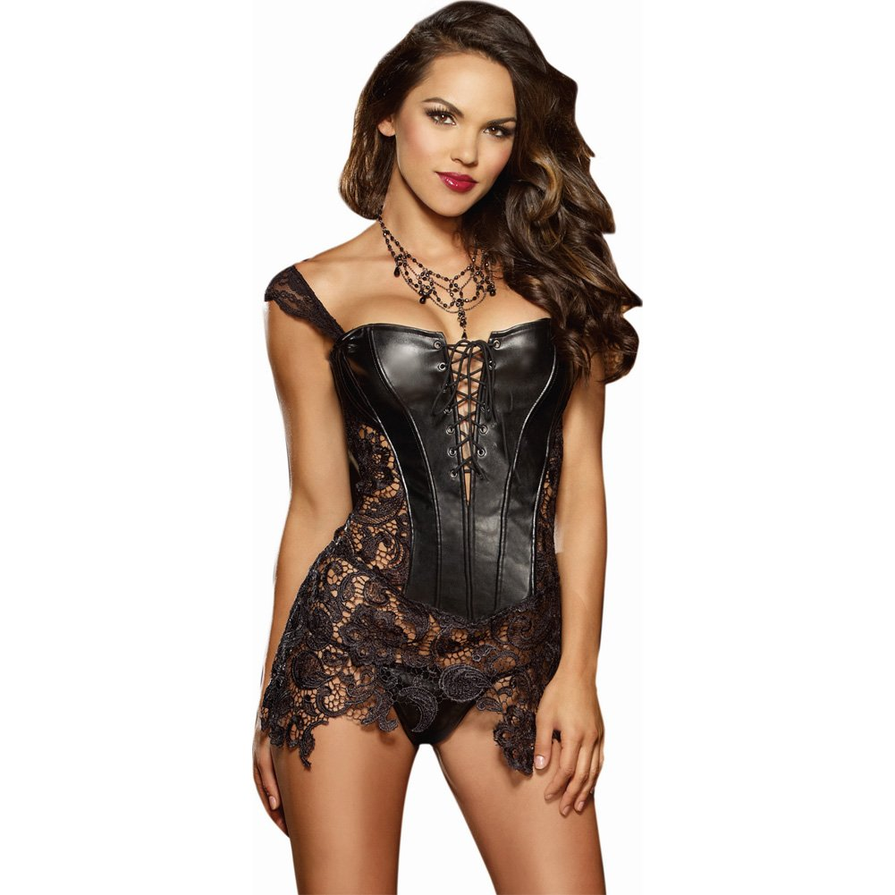 Faux Leather Venice Lace Fully Boned Corset with Hi-Low Attached Skirt and Thong Size 36 Black - View #1