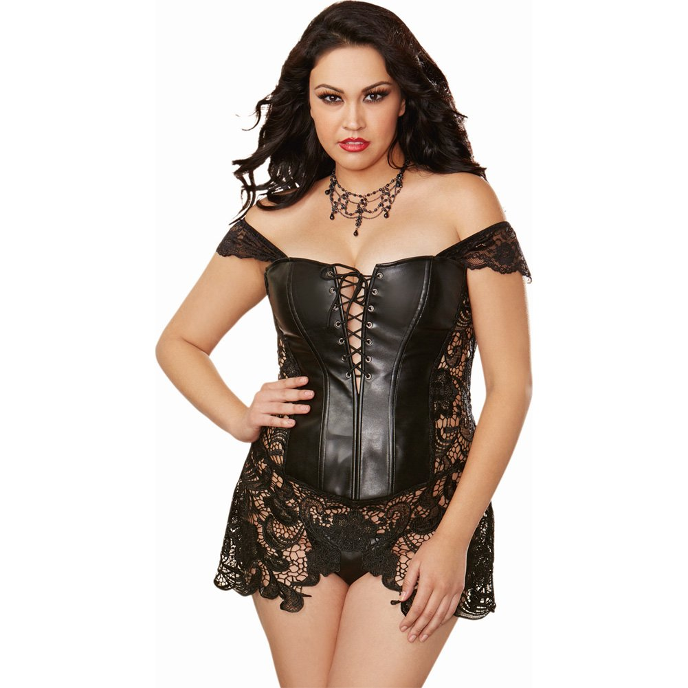Dreamgirl Lingerie Faux Leather Venice Lace Corset Hi-Low Attached Skirt and Thong 40 Black - View #1