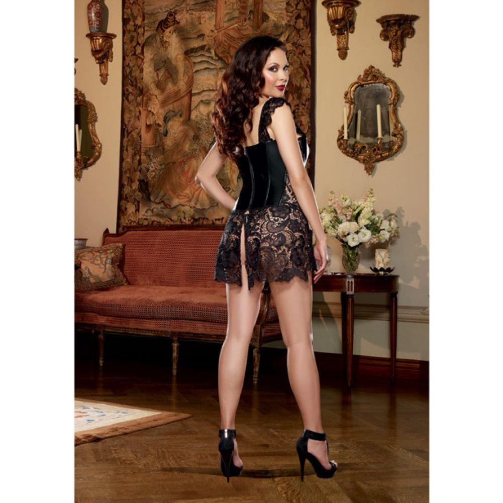 Dreamgirl Lingerie Faux Leather Venice Lace Corset Hi-Low Attached Skirt and Thong 44 Black - View #4