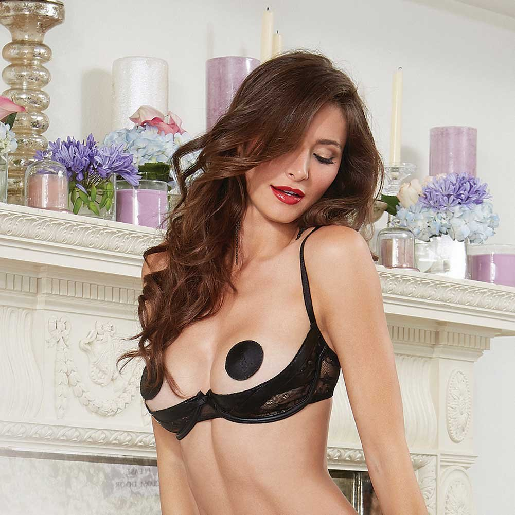 Dreamgirl Lingerie Stretch Lace Open Cup Underwire Shelf Bra with Vinyl X Design 32 Black - View #3