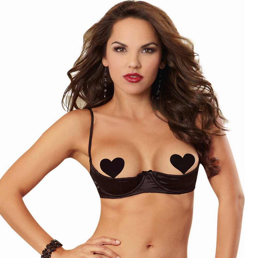 Dreamgirl Satin Open Cup Underwire Shelf Bra with Zig-Zag Topstitch Size 38 Black - View #1