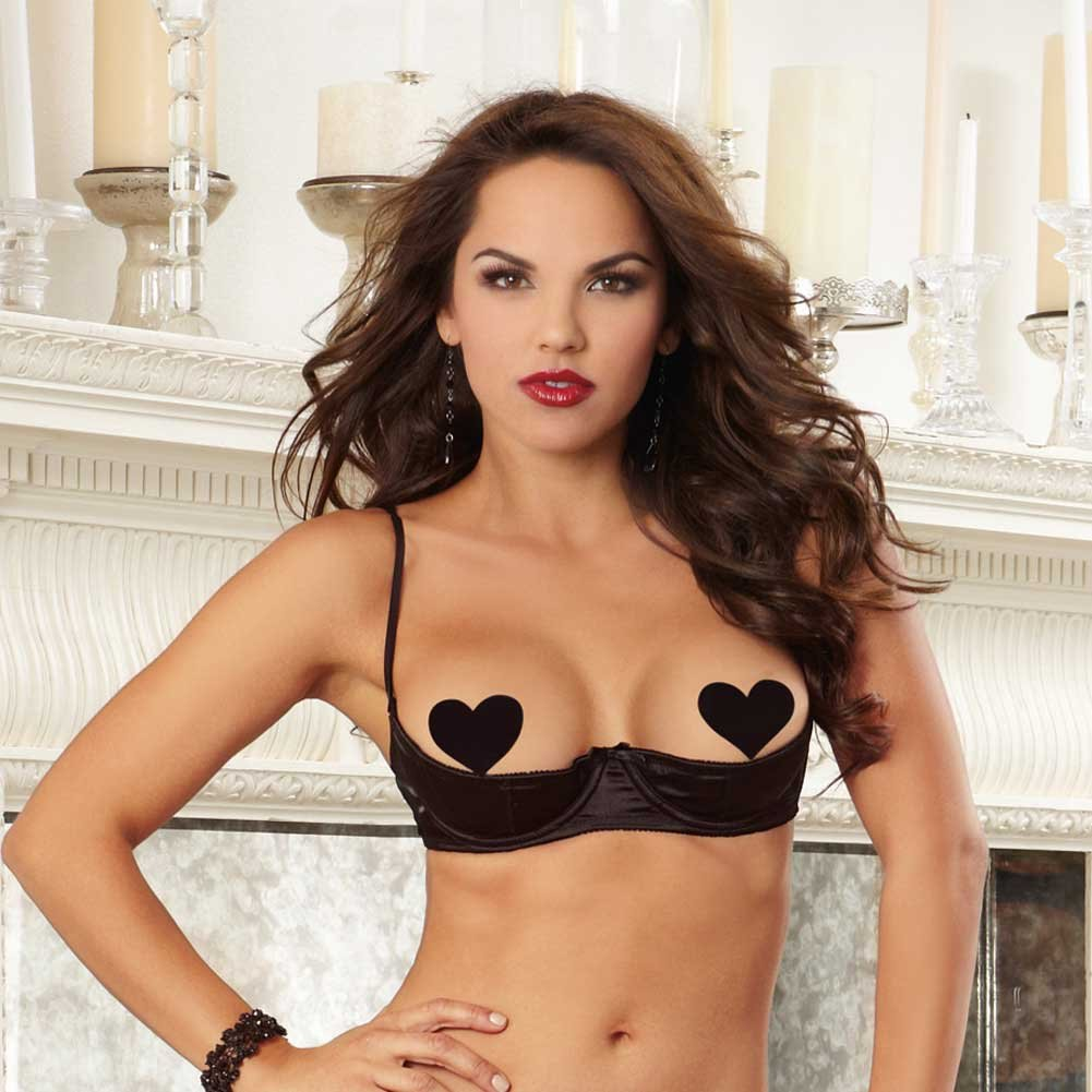 Dreamgirl Satin Open Cup Underwire Shelf Bra with Zig-Zag Topstitch Size 38 Black - View #3