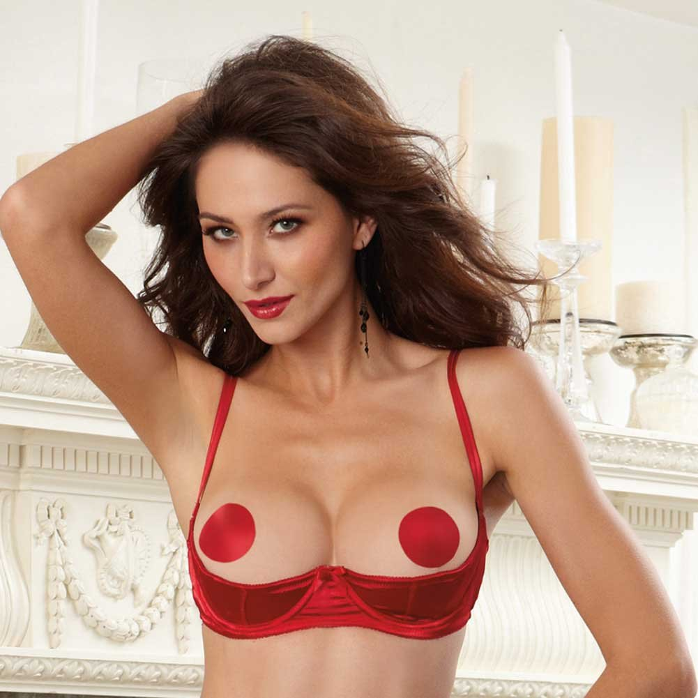 Dreamgirl Lingerie Satin Open Cup Underwire Shelf Bra with Zig-Zag Topstitch 34 Red - View #3