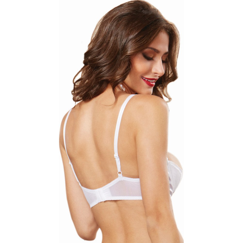 Dreamgirl Lingerie Satin Open Cup Underwire Shelf Bra with Zig-Zag Topstitch 32 White - View #2
