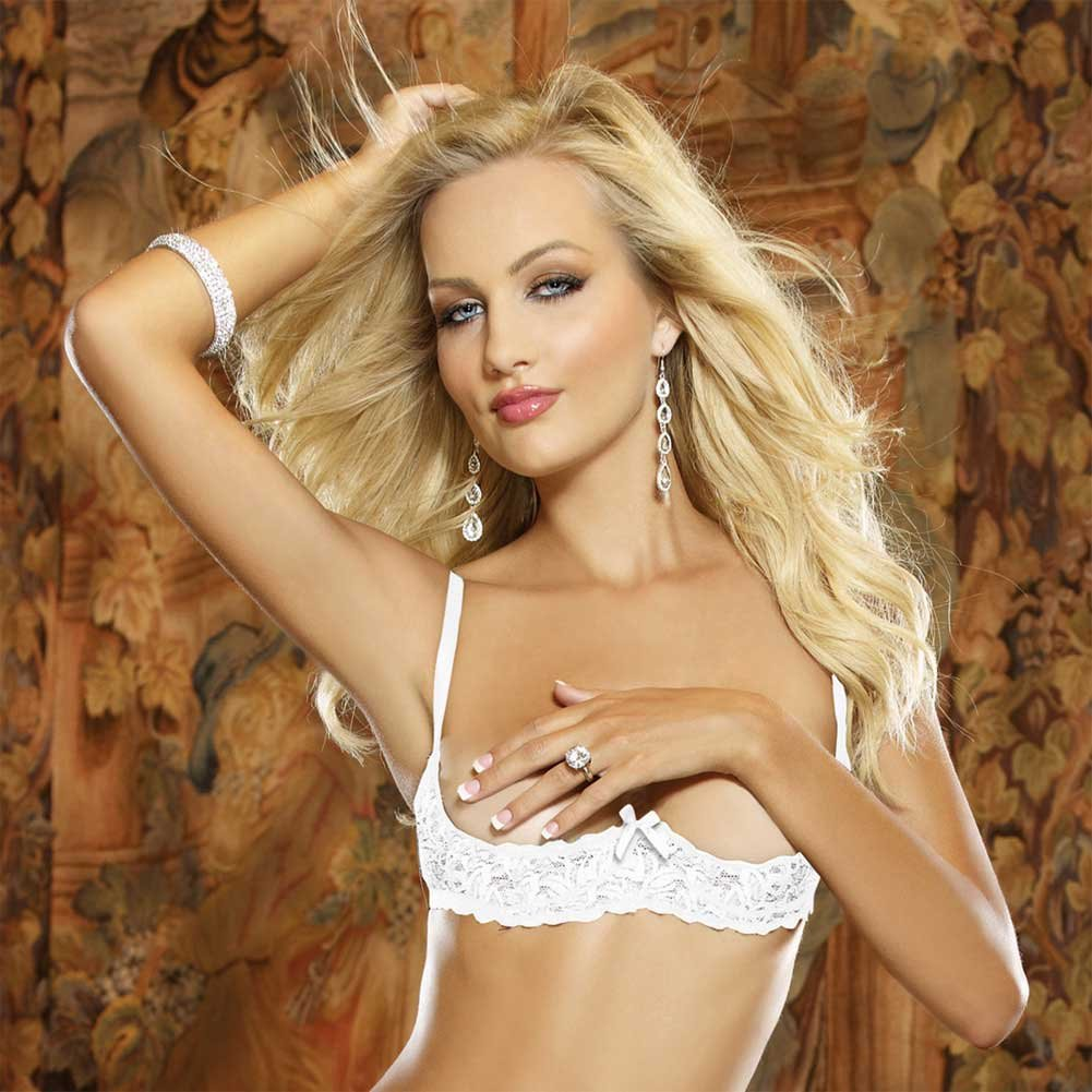 Dreamgirl Lingerie Stretch Lace Open Cup Underwire Shelf Bra with Adjustable Straps 32 White - View #3