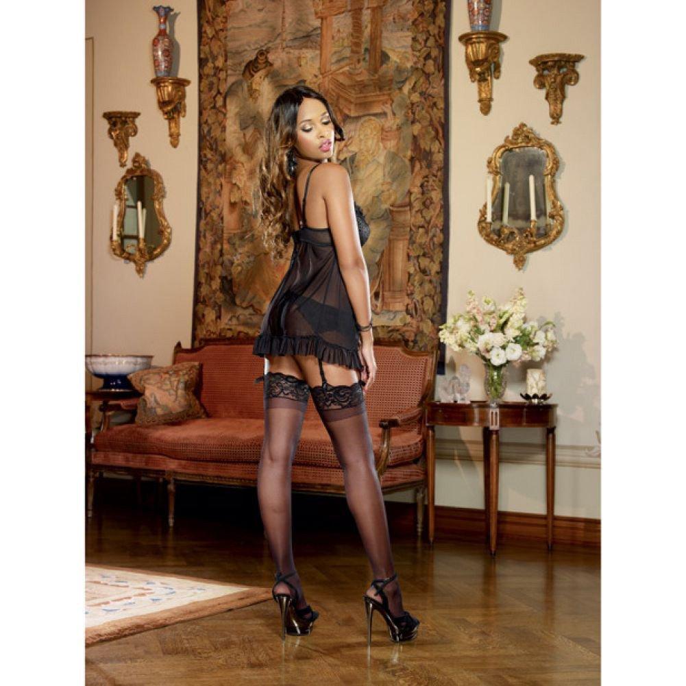 Dreamgirl Lingerie Satin Jacquard Stretch Mesh Flyaway Babydoll Garter Belt Thong Medium Black - View #4