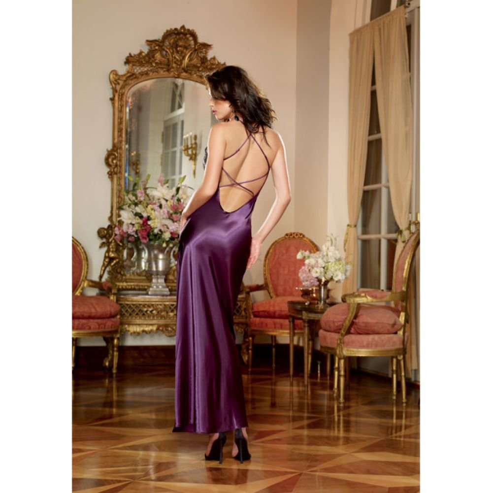 Dreamgirl Lingerie Satin Charmeuse Full Length Gown Criss Cross StrapsThong Medium Plum - View #1